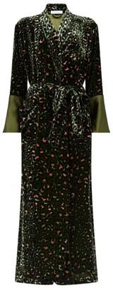 Olivia von Halle Velvet Leopard Print Robe