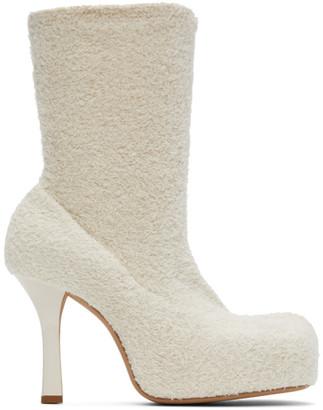 Bottega Veneta Off-White Knit Bold Boots