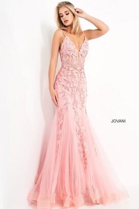 Jovani Floral Mermaid Informal Wedding Gown