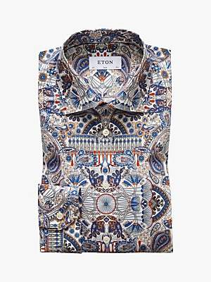 Eton Ancient Paisley Print Twill Slim Fit Shirt, Multi