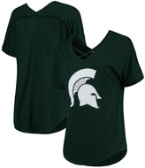 Unbranded Women's Green Michigan State Spartans Goal Getter Cross Neck T-Shirt