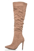 Quiz Taupe Ruched Heel Boots