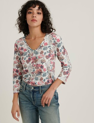 Lucky Brand Printed Puff Sleeve V-Neck Tee