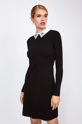 Karen Millen Crystal Collar Knit Dress
