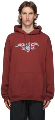 Vetements Burgundy Embroidered Hoodie