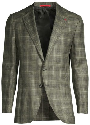 Isaia Summertime Plaid Wool, Silk & Linen Single-Breasted Jacket