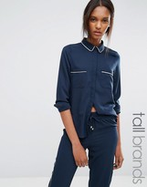 Vero Moda Tall Piped Pajama Style Shirt