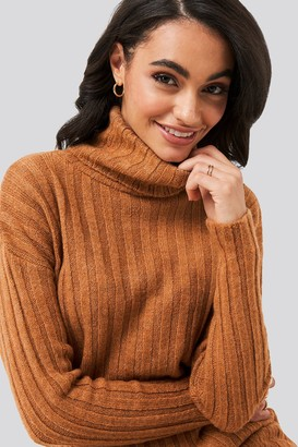 Trendyol Ribbed Turtleneck Knitted Sweater Purple