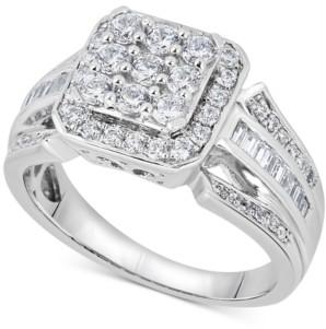 Macy's Diamond Square Cluster Ring (1 ct. t.w.) in 14k White Gold