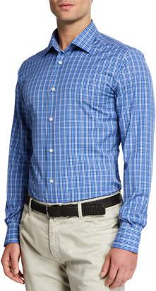 Neiman Marcus Men's Tonal Plaid Sport Shirt