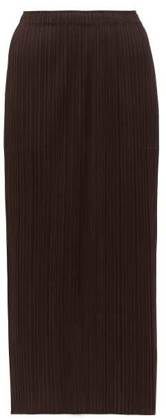 Pleats Please Issey Miyake Pleated Midi Skirt - Womens - Dark Brown