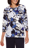 Alfred Dunner 3/4-Sleeve Floral Print Top