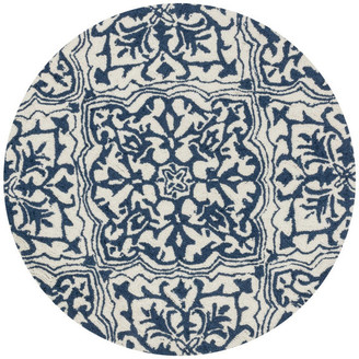 Loloi Rugs Polyester Hooked Ivory Blue Francesca FC-36 Area Rug by Loloi, 3' Roun