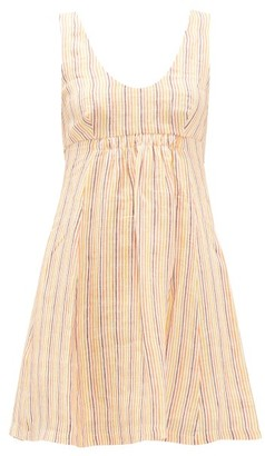 Three Graces London Emilia Striped Linen Mini Dress - Womens - Multi