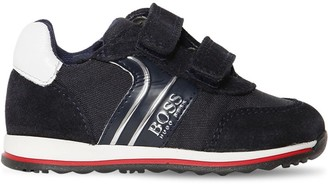 HUGO BOSS Leather & Suede Sneakers W/ Straps