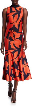St. John Patio Floral Jacquard Knit Dress