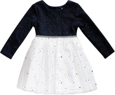 Youngland Black & White Pin Dot A-Line Dress - Toddler & Girls