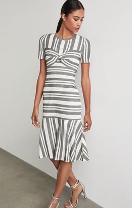 BCBGMAXAZRIA Twist Front Striped Dress