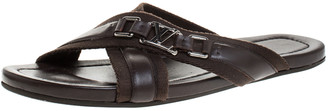 Louis Vuitton Brown Fabric And Leather Criss-Cross Flat Sandals Size 43.5