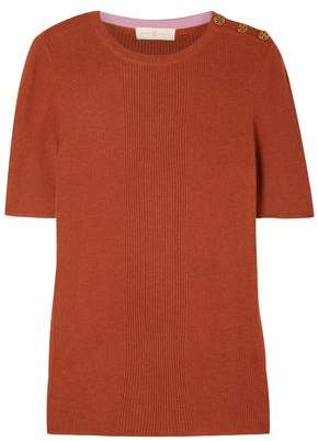 Tory Burch Button-detailed Ribbed Cashmere Top