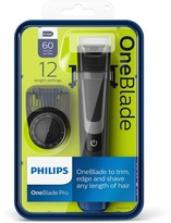 Philips OneBlade Pro Hybrid Trimmer and Shaver with 12-Length Comb (UK 2-Pin Bathroom Plug)- QP6510/30