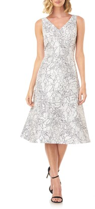 Kay Unger Sketch Outline Floral Cocktail Dress