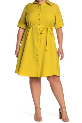Sharagano Roll Sleeve Tie Waist Shirt Dress (Plus Size)
