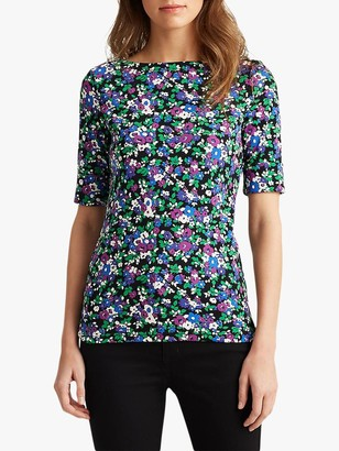 Ralph Lauren Ralph Judy Floral Print Jersey Top, Polo Black/Multi