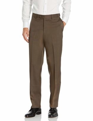 Savane Men's Stretch Crosshatch Flat Front Dress Pant