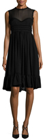 Cynthia Rowley Gergogette Raw Edge Ruffle Dress