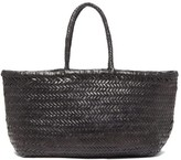 Dragon Optical Diffusion - Triple Jump Large Woven-leather Basket Bag - Womens - Black