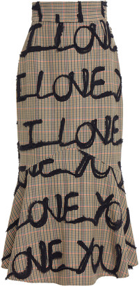 Silvia Tcherassi I Love You Embroidered Cady Skirt