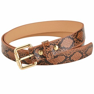 Ayliss Womens Belts Snakeskin PU Leather Slim Thin Waist Belt Casual for Jeans Dresses Pants - brown - One Size