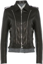 Golden Goose Deluxe Brand Leather Jacket with Jersey