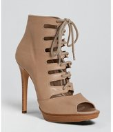 tan leather lace-up peep toe booties