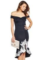 AX Paris Off The Shoulder Navy Lace Hem Dress