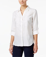 Charter Club Linen Beaded Embroidered Shirt, Only at Macy's