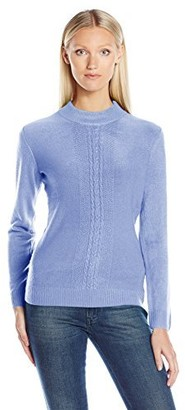 Sag Harbor Women's Mock Neck Cashmerlon Sweater with Cable Front Detail