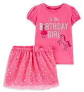 Carter's Child Of Mine By Child of Mine by Baby Toddler Girl Birthday T-Shirt & Tutu Skirt, 2 pc Outfit Set