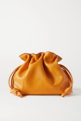 Loewe Flamenco Leather-trimmed Python Clutch - Yellow