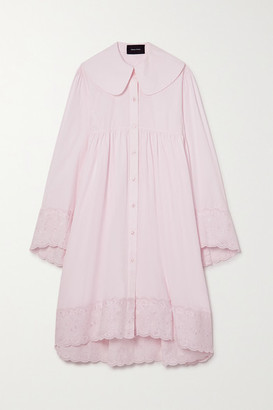 Simone Rocha Scalloped Embroidered Cotton-poplin Shirt Dress - Pastel pink