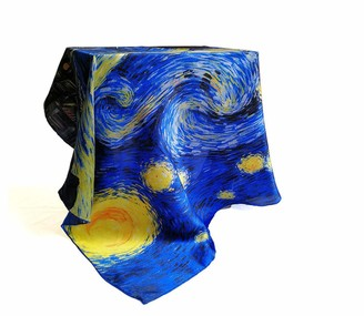 Ylgg Oil painting Silk Scarf Blue Star Satin women's scarf large square scarf gift silk scarf mulberry silk 100% 90 * 90cm (35.4 * 35.4in)