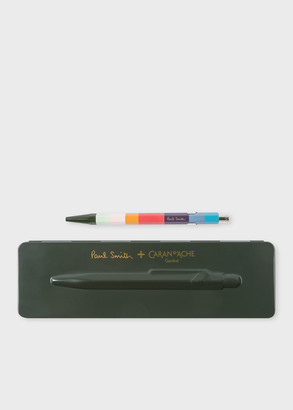 Paul Smith Caran d'Ache + 849 'Artist Stripe' Ballpoint Pen With Racing Green Case