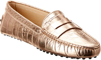 Tod's Gommino Croc-Embossed Metallic Leather Loafer