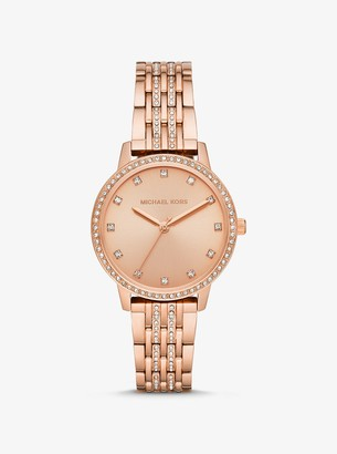 Michael Kors Melissa Pave Rose Gold-Tone Watch