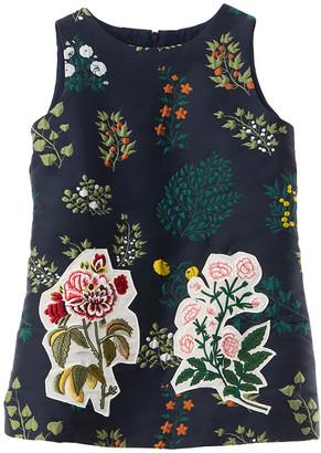 Oscar de la Renta Floral Embroidery Silk-Lined Dress