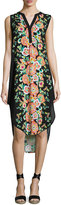 Neiman Marcus Split-Neck Floral-Print Sleeveless Tunic Dress