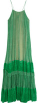 Stella McCartney Lace-paneled Printed Silk-blend Georgette Gown - Green