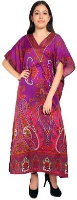 RADANYA Paisley Print Long Kaftan Maxi Dress Womans Summer Holiday Beach Kaftan - Magenta
