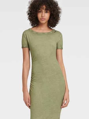 DKNY Women's Ruched Boat-neck T-shirt Dress - Olive - Size S